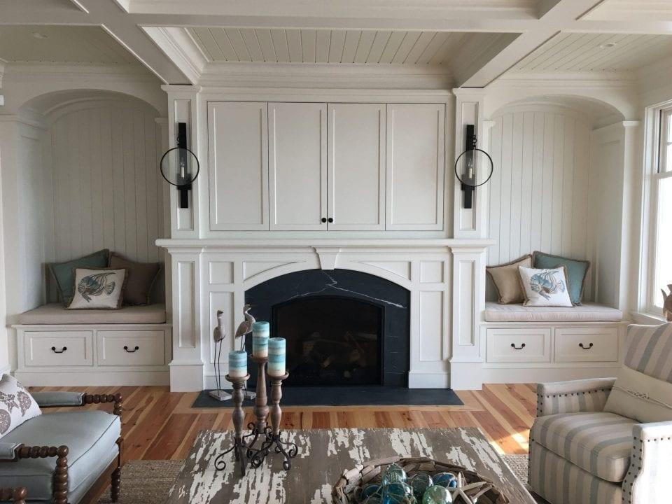 Custom Light Fixtures on Fireplace