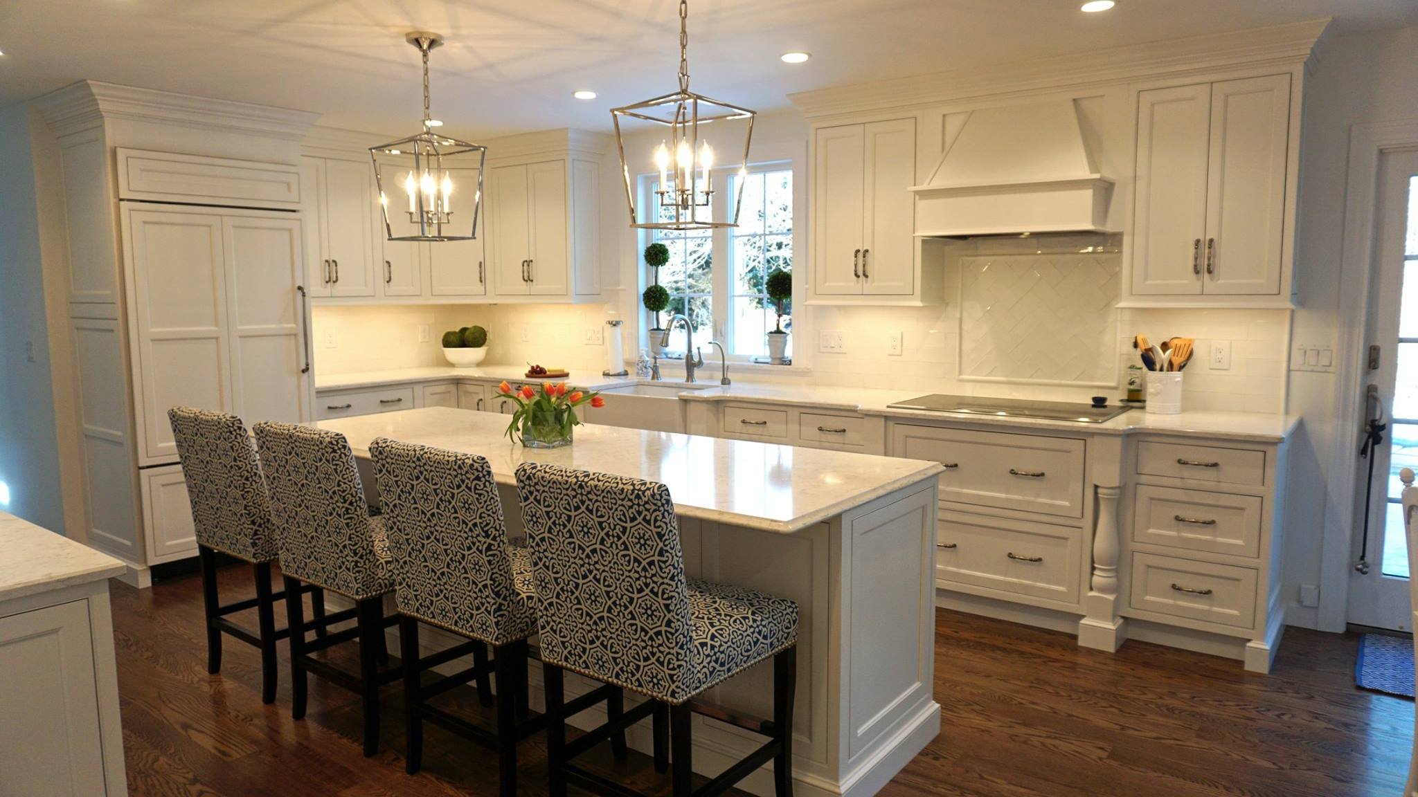 White Kitchen with Custom Light Fixtures